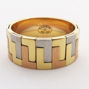 Two Tone 18k Pure Gold Band Ring size 6.5